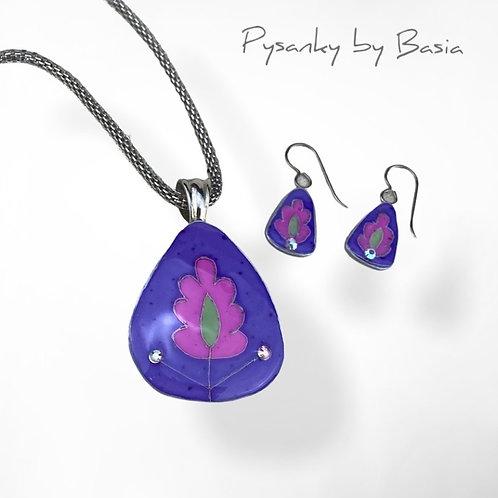 A109 - Pysanka Pendant and Earring Set - Vivid Pink/Purple #1