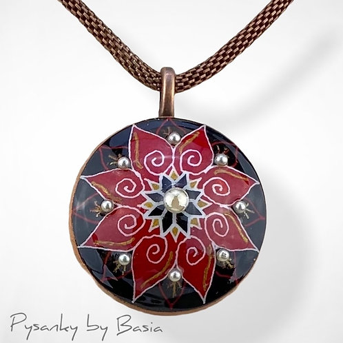 A100RA - Pysanka Pendant -  Red Flower with Pearl, Goose Eggshell