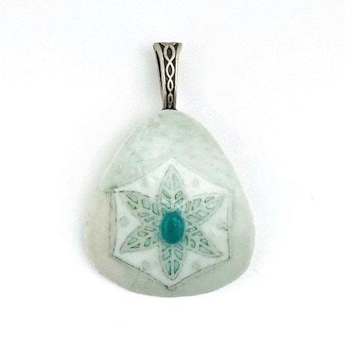 A013r - Pysanka Pendant --  Flower  on Mute Swan  Eggshell