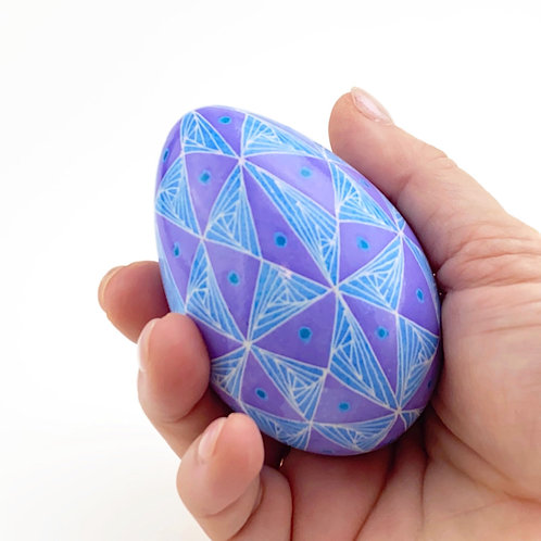 P014 Pysanka -- 40 Triangles blue and violet pattern on a Jumbo Turkey Egg
