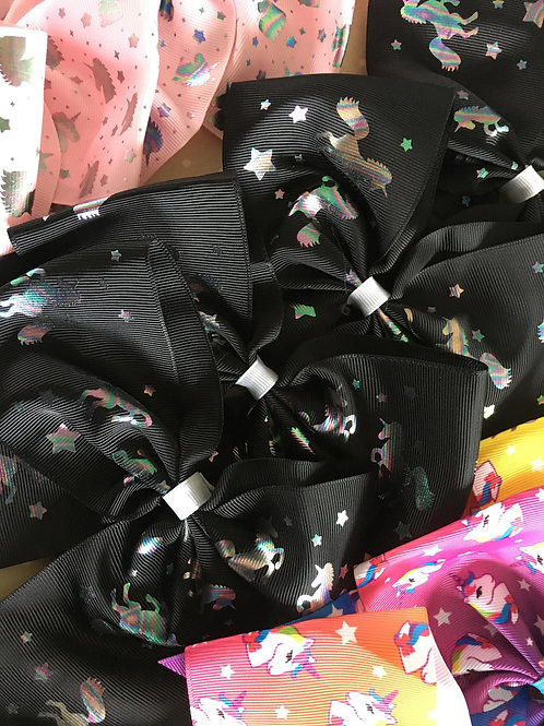 Black Holographic Unicorn Bow