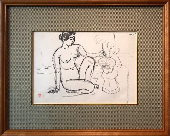 梅原龍三郎《裸婦》31.7×22.0cm