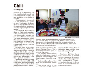 Evans Home's 20th Annual Chili Dinner