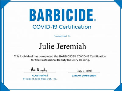 Barbicide Covid Certificate Looking Love