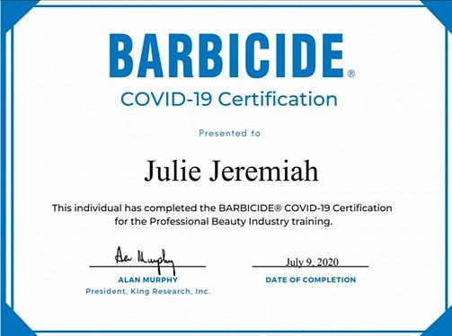 Barbicide Covid Certificate Looking Love