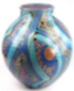 Large round pot, hand thrown in Devon by Lea Phillips in midnight blue design