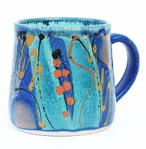 Standard mug in high fired stoneware clay, hand throw by Devon potter Lea Phillips