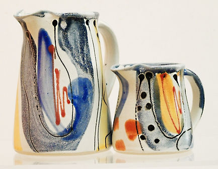 Medium and small jug by Lea Phillips in Bloomsbury design