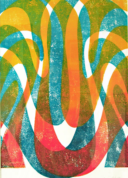 'Wave' limited edition lino print by Lea Phillips available from studio near Totnes Devon