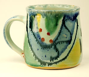 Standard mug in aqua design, hand thrown in high fired stoneware by Devon potter Lea Phillips