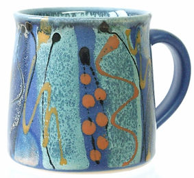Standard mug in Midnight Blue design, coffee mug, tea mug, hand thrown by Devon potter Lea Phillips