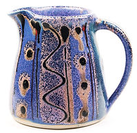 Small jug in high fired stoneware, hand thrown by Lea Phillips in her studio in Devon, cosmic design