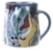 Large mug, cosmic design, high fired stoneware, Devon pottery, ceramics, Lea Phillips