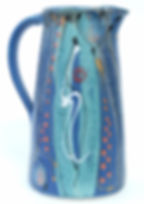 Large stoneware jug hand thrown by Devon potter Lea Phillips in midnight blue range