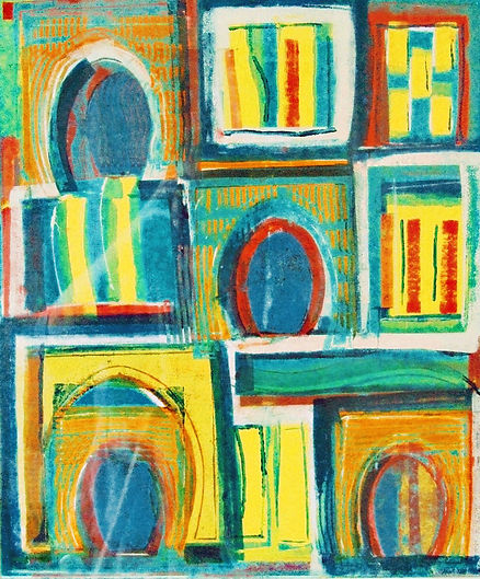 Mono print 'If every door is open' colourful abstract uniqui print available from artist studio near Totnes Devon