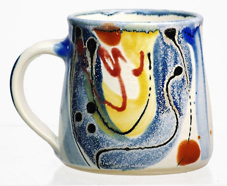 Stoneware mug by Lea Phillips in Bloomsbury design handmade studio pottery made in totnes Devon