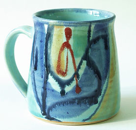 Large stoneware mug in aqua range hand thrown and decorated by Devon potter Lea Phillips