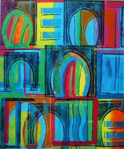 Mono print by Lea Phillips unique colourful abstract print available from studio in Totnes Devon