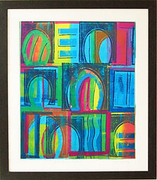 Framed mono print 'Every door is open' unique framed artist print by Lea Phillips available in totnes Devon
