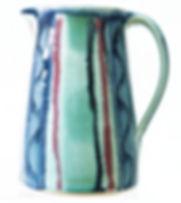 Medium jug in aqua design hand thrown tableware by Devon potter Lea Phillips