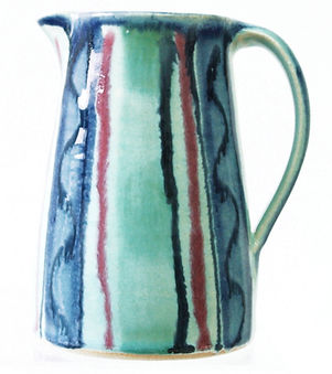Medium jug in aqua design hand thrown tableware by Devon potter Lea Phillips