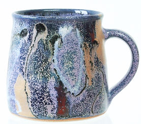 Standard coffee mug in stoneware clay, hand thrown anddecorated by Devon potter Lea Phillips