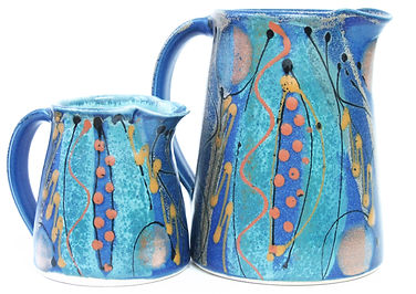 Medium and small jug hand thrown in high fired stoneware clay, hand made in Devon by Lea Phillips