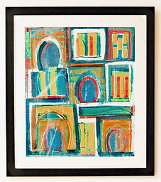 Framed mono print by Lea Phillips unique abstract print available from artist studio near Totnes Devon