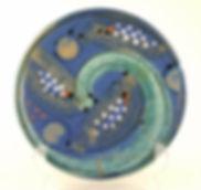 Breakfast plate in high fired stoneware hand thrown in Devon by Lea Phillips, midnight blue design