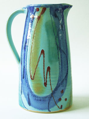 Large stoneware jug by Devon potter Lea Phillips in Aqua design