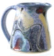 Stoneware milk jug hand made in Devon by Lea Phillips, cosmic design