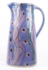 Large jug hand thrown by Lea Phillips at her Devon studio, cosmic design