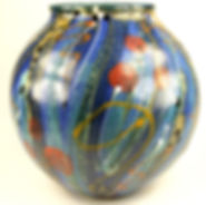 Large round pot in high fired stoneware made by Devon potter Lea Phillips, midnight blue design