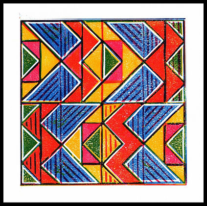 Limited edition framed colourful abstract print by Lea Phillips available from artist studio near Totnes Devon
