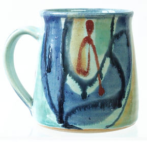 Large stoneware mug tea mug coffee mug stoneware,  hand thrown, Devon pottery Lea Phillips, aqua design