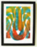 Framed limited edition lino print by Lea Phillips available from studio near Totnes Devon