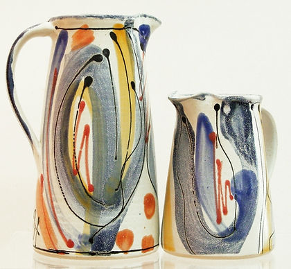 Stoneware jugs by Lea Phillips in Bloomsbury design