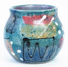Stoneware wine cup in midnight blue range, hand thrown by Devon potter Lea Phillips