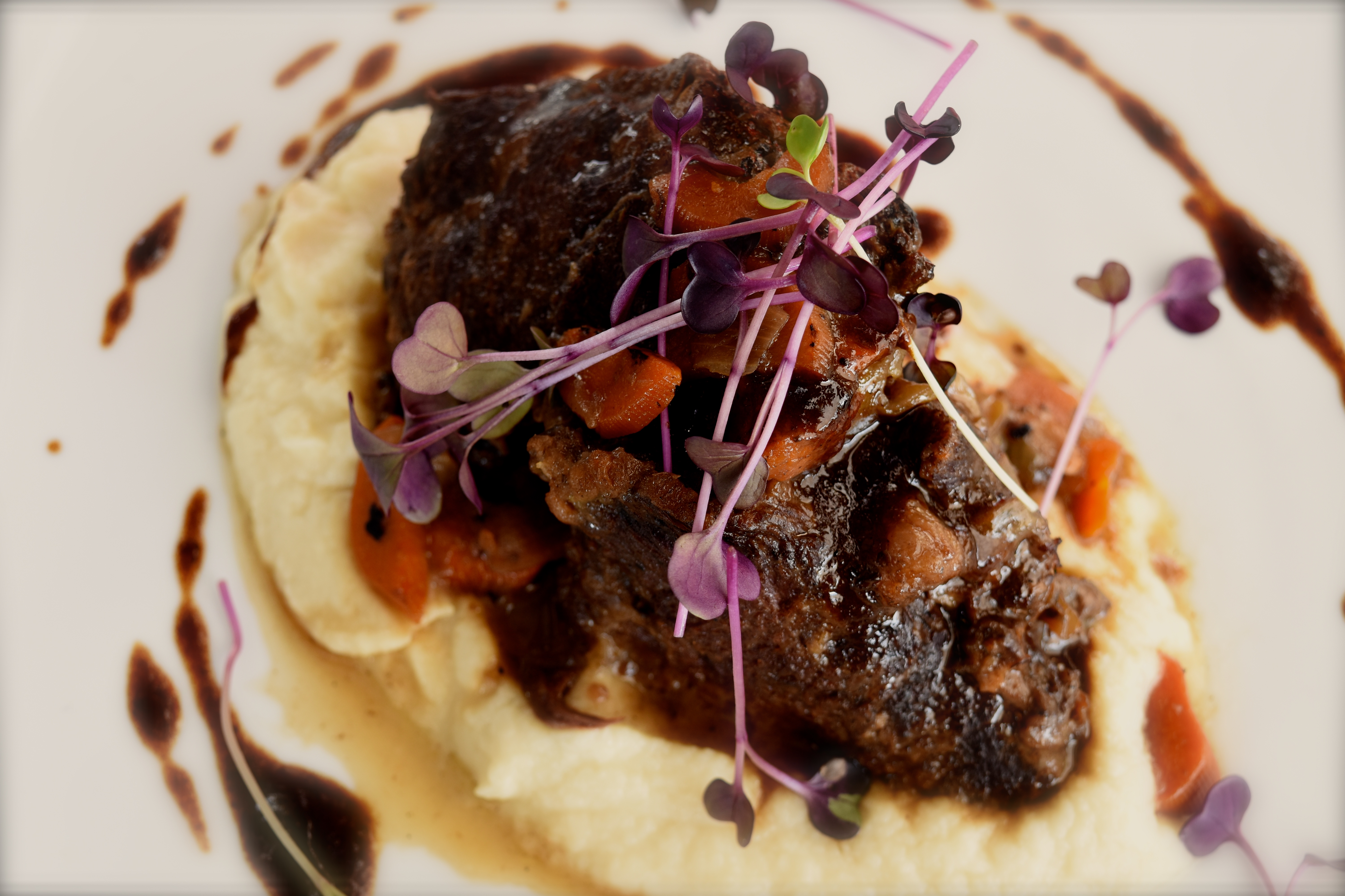 Slowly braised beef cheeks