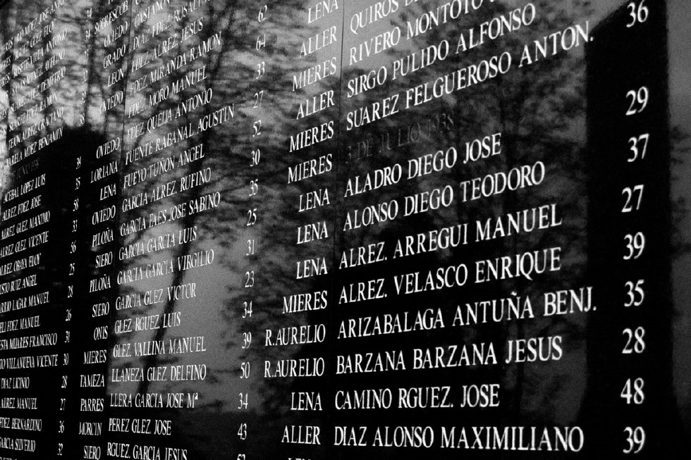 The name of the Republicans executed between 1936 and 1952. Oviedo Cemetery 2006