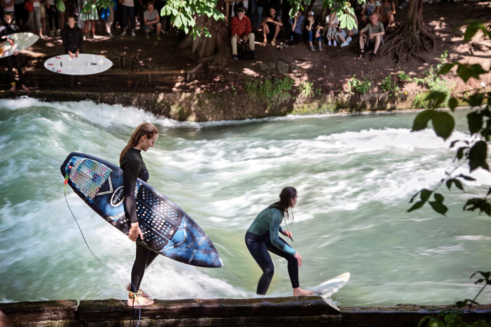 Surfing on the Isar River, Munich