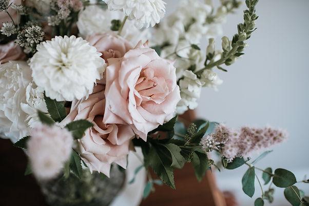 Blush rose, dahlia and spirea bouquet.jp