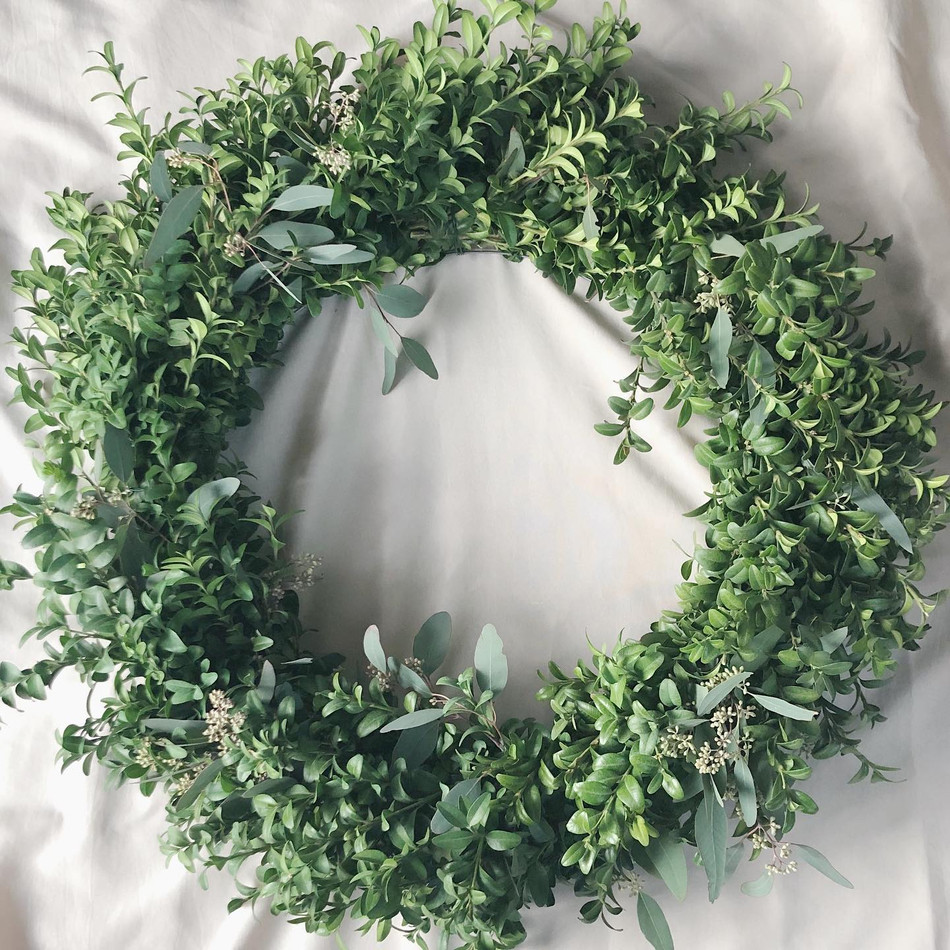 "20"" Boxwood Eucalyptus Wreath - $70"