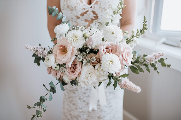 Gorgeous peony rose eucalyptus bouquet.j