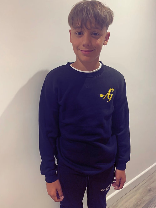 Achieve greatness kids jumper - black with yellow logo