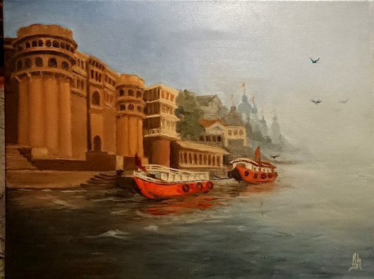 """Boats in Ganges"" 18"" x 16"""