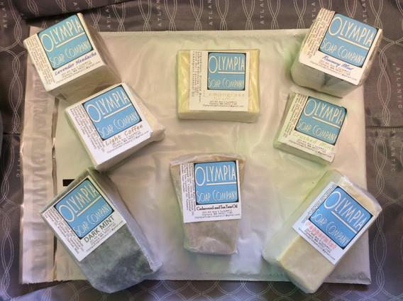 Olympia Soap Company's first soap bars