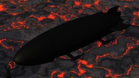 War Zeppelin over volcanic field (The Rocket)