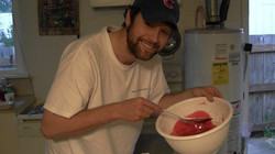 Mixing up Zombie blood for filming