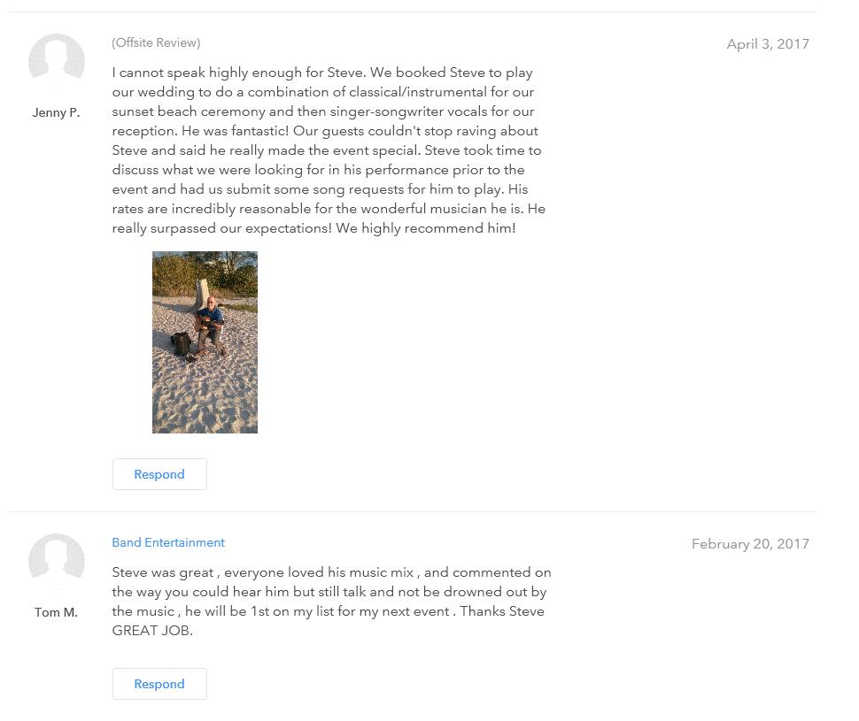 Past clien reviews of Steve Organek